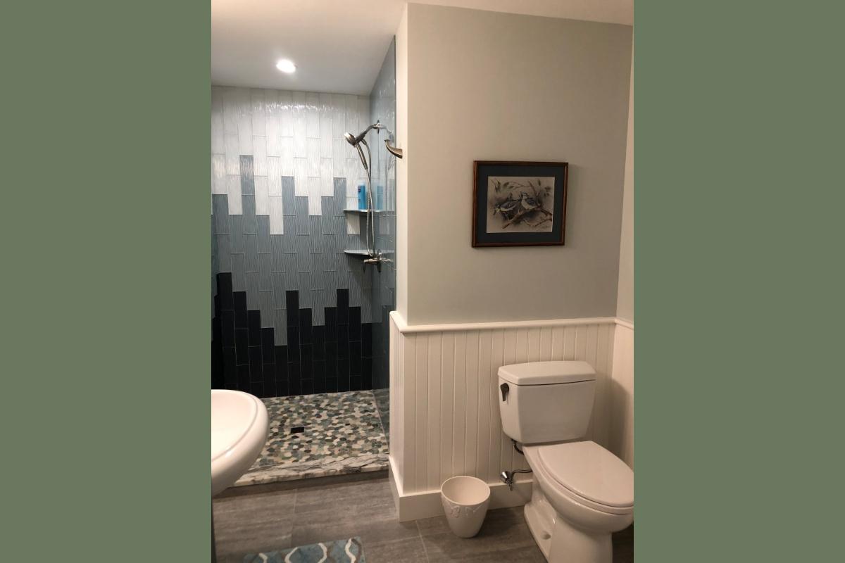 Ocean/City Backdrop Inspired Tile Shower